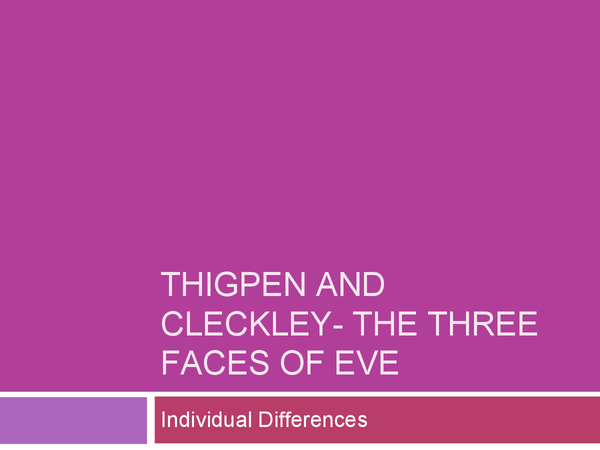 Preview of Thigpen and Cleckley- The Three Faces of Eve