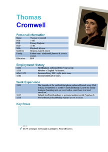 Preview of Thomas Cromwell Fact File