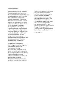 Preview of To His Coy Mistress by Andrew Marvell