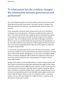 Preview of To what extent has the Coalition changed the relationship between Government and Parliament?