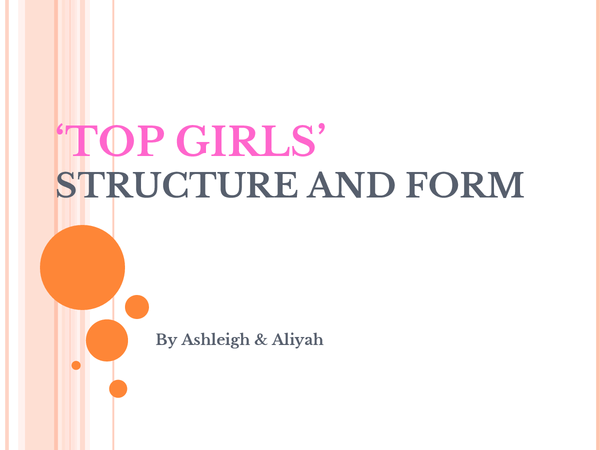 Preview of Top Girls Structure and Form