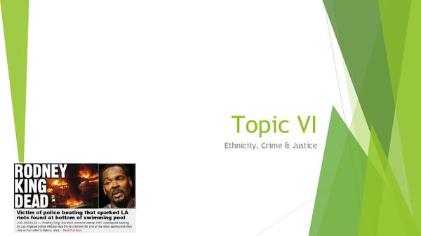 Preview of Topic VI: Ethnicity, Crime & Justice