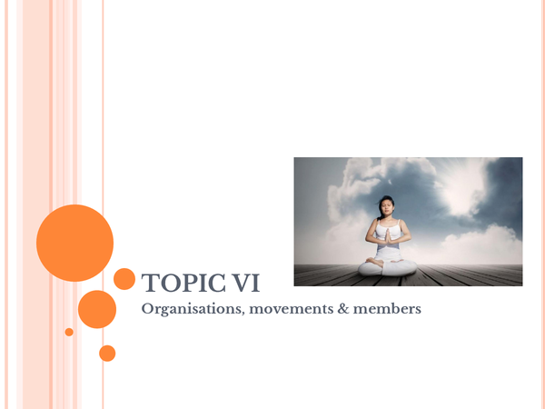 Preview of Topic VI: Organisations & movements