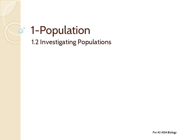 Preview of Unit 4: Topic 1.2 Investigating Populations - Key Terms