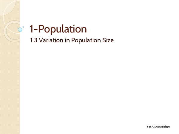 Preview of Unit 4: Topic 1.3 Variation in Population Size - Key Terms