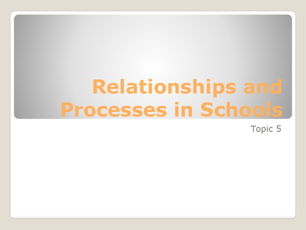 Preview of Topic 5 - Relationships and Processes in Schools