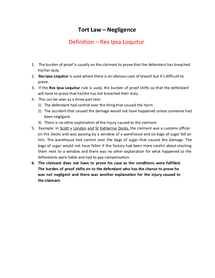 Preview of Tort Law (Negligence) - Res Ipsa Loquitur