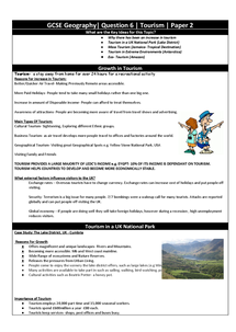 Preview of Tourism Revision Guide Q6
