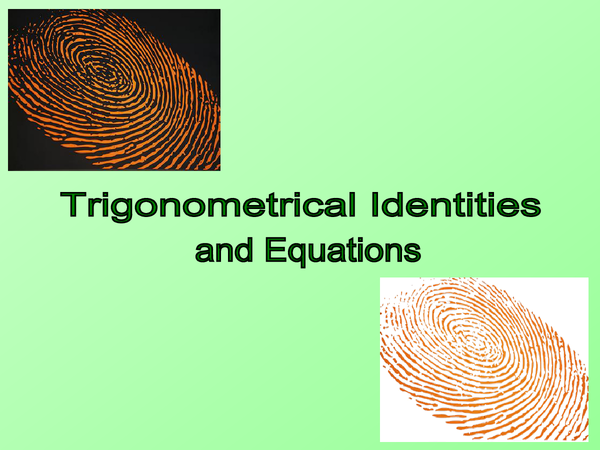 Preview of Trigonometrical identities/equations C2 revision