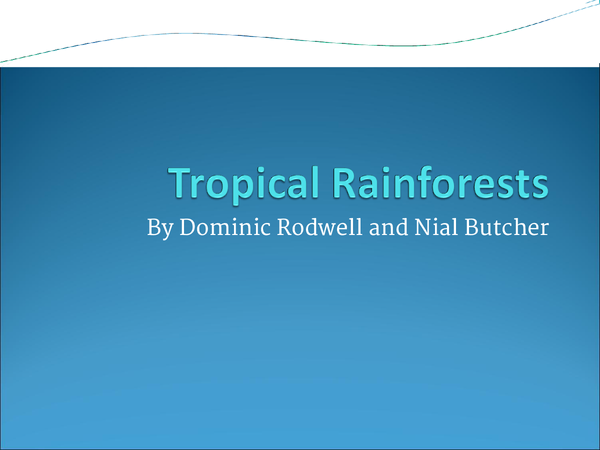 Preview of Tropical rainforests and ecosystems