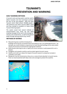 Preview of Tsunami's - Prevention & Warning