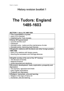 Preview of Tudor Revision Booklet 1
