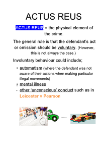 Preview of Types of Actus Reus
