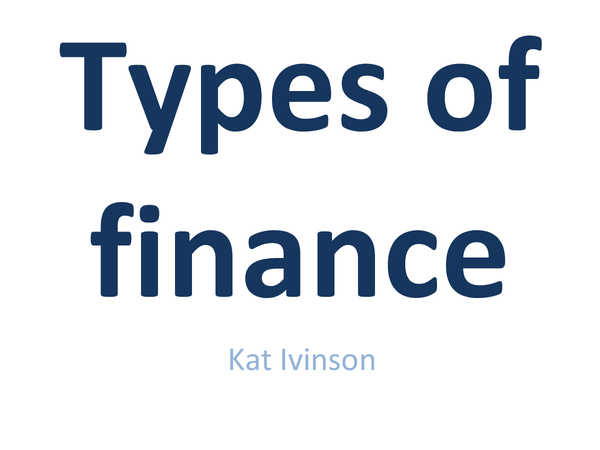 Preview of types of finance