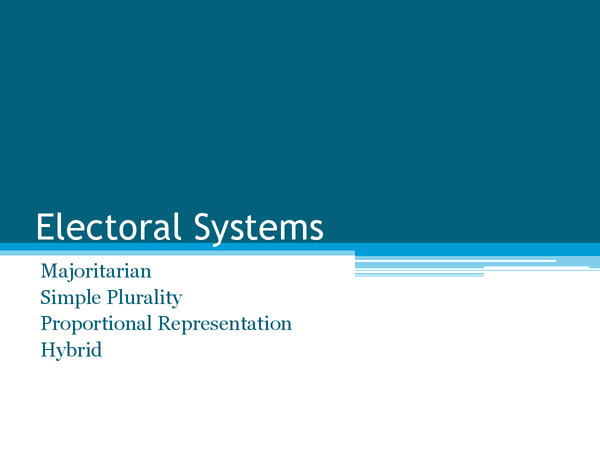 Preview of UK Electoral Systems