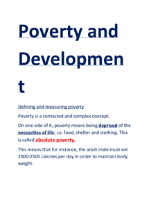 Preview of unit 4d- poverty and development