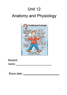 Preview of unit 12 OCR Anatomy and Physiology