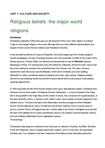 Preview of Unit 1.5 Religious beliefs - the major world religions (1).doc