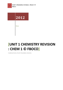 Preview of unit 1 chemistry;foundation chemistry