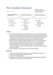 Preview of Unit 1   Cognitive memory models (Edexcel)