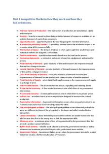 Preview of Unit 1 Economics definitions