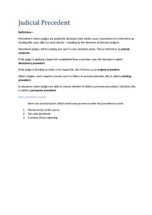Preview of Unit 1 | Judicial Precedent (AQA)
