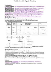 Preview of Unit 1- Organic Chemistry Study Guide
