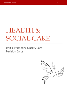 Preview of Unit 1 - Promoting Quality Care Revision Cards
