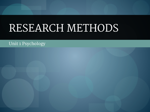 Preview of Unit 1 Research Methods