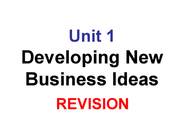 Preview of Unit 1 revision