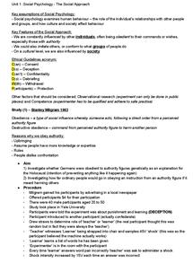 Preview of Unit 1 Social Psychology Edexcel