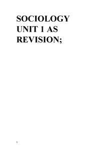 Preview of Unit 1 Sociology AQA Familes and Household's