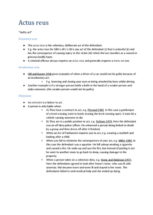 Preview of Unit 2 | Actus reus and Mens rea (AQA)