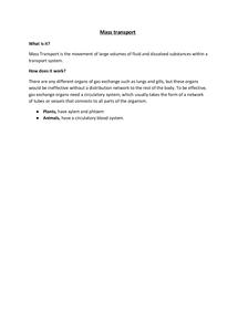 Preview of Unit 2 AQA Biology - Mass Transport