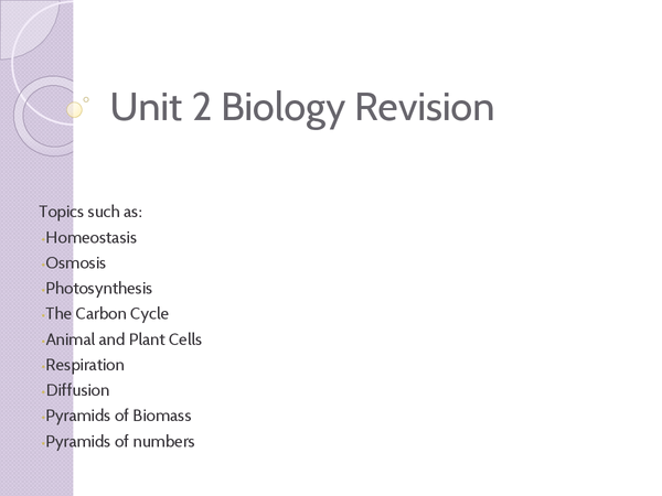 Preview of unit 2 Biology GCSE revision presentation