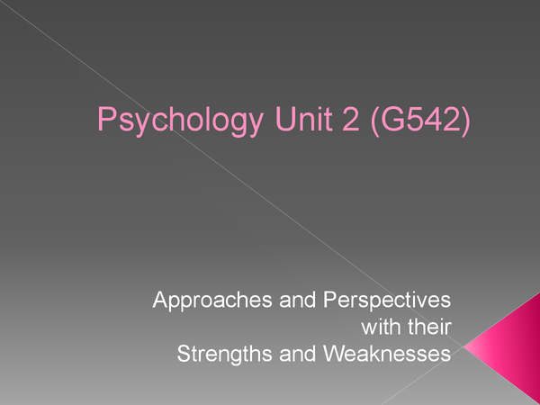 Preview of Unit 2 G542 Approaches and Perspectives strengths and weaknesses with reference to recomended studies!!