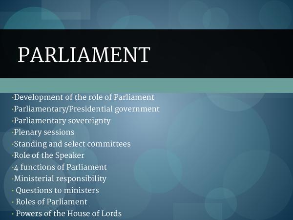 Preview of Unit 2 Parliament