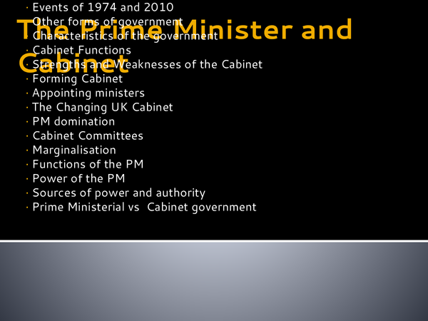 Preview of Unit 2 - PM and Cabinet