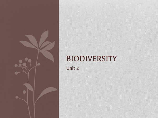 Preview of Unit 2 Revision Biology - Biodiversity