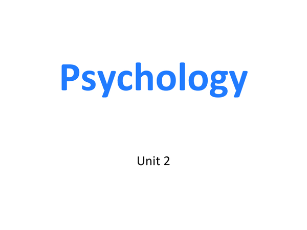 Preview of Unit 2 Social Psychology