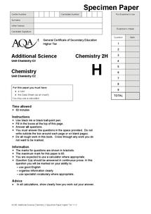 Preview of Unit 2 specimen paper