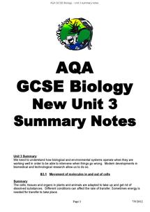 Preview of Unit 3 AQA Biology GCSE