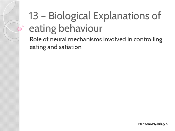 Preview of Unit 3 - Eating Behaviour: Role of Neural Mechanisms in Controlling Eating - Key Terms