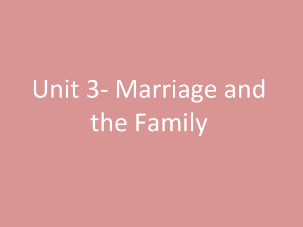 Preview of Unit 3- Marriage and the Family