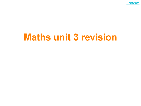 Preview of unit 3 maths revision