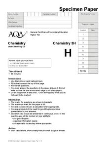Preview of Unit 3 specimen paper
