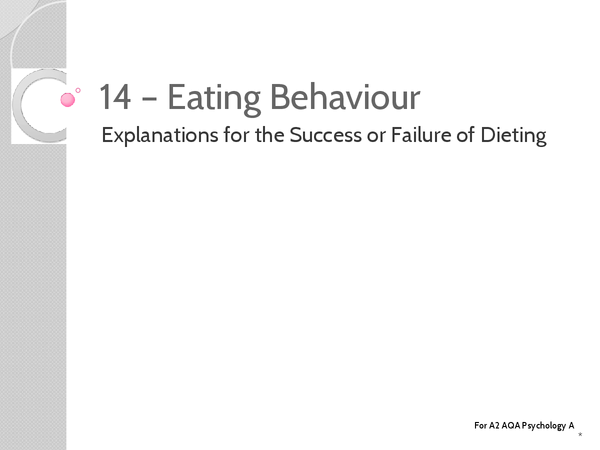 Preview of Unit 3: Topic 14b Explanations for Success or Faliure of Dieting - Key Terms