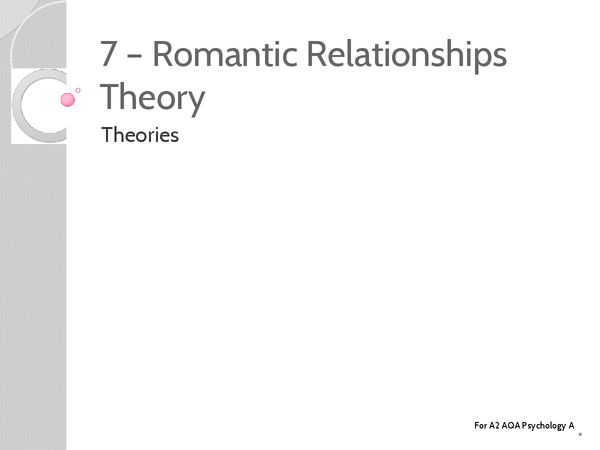 Preview of Unit 3: Topic 7 Romanic Relationships Theory - Key Terms