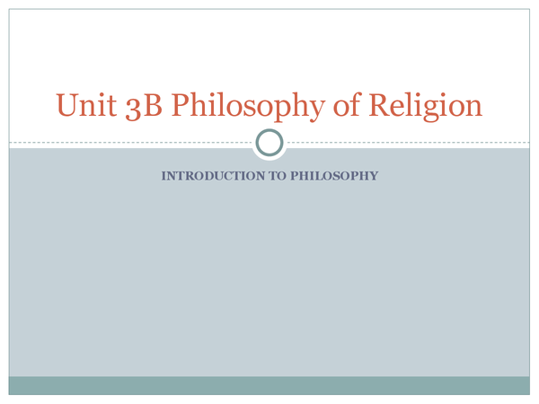 Preview of Unit 3B Philosophy of Religion Introduction