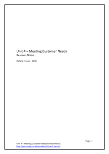 Preview of AQA - Unit 4 - Meeting Customer Needs (Whole Topic Notes)